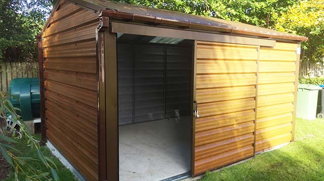 Steeltech Garden Shed installed in Carlow. It is 4xm  x 3m size and is ideal for good dry home storage.