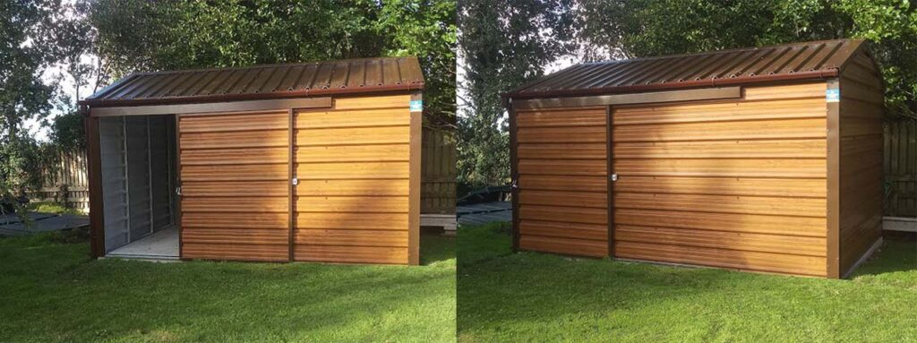 This Steeltech shed is finished in Woodgrain Steel and brown trim and has a 1.3m wide opening Sliding door for easy access.