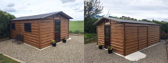 Multipurpose Woodgrain Steel Garden Shed 6m x 4m, incorporating a sliding door on the side and a 1/2 Glass PVC door on the gable.